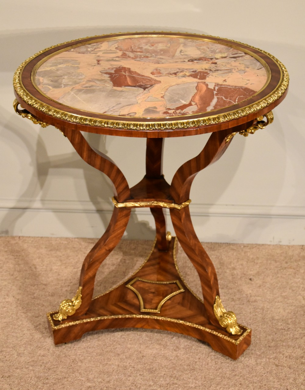 regency marble and kingwood centre table