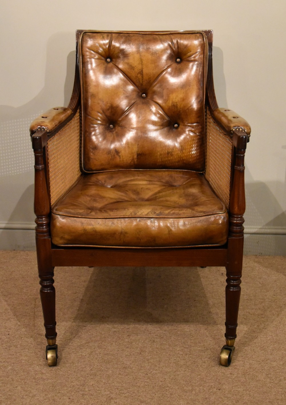 regency bergere armchair mahogany and leather