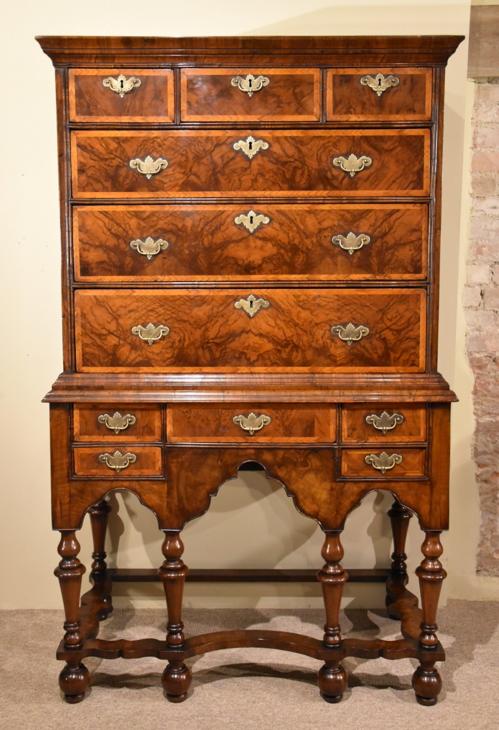 walnut chest on stand william and mary
