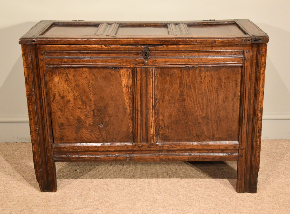 oak three panelled coffer transitional period