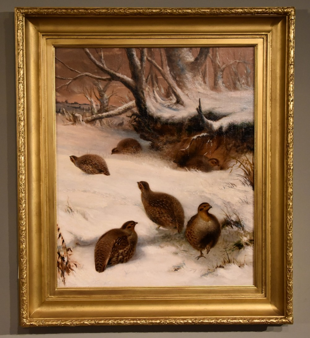 oil painting by henry grant partridges in the snow