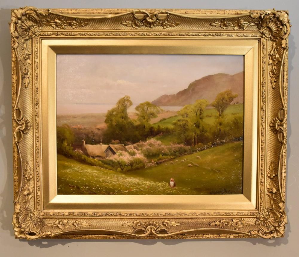 oil painting by walter henry goldsmith springtime porlock somerset