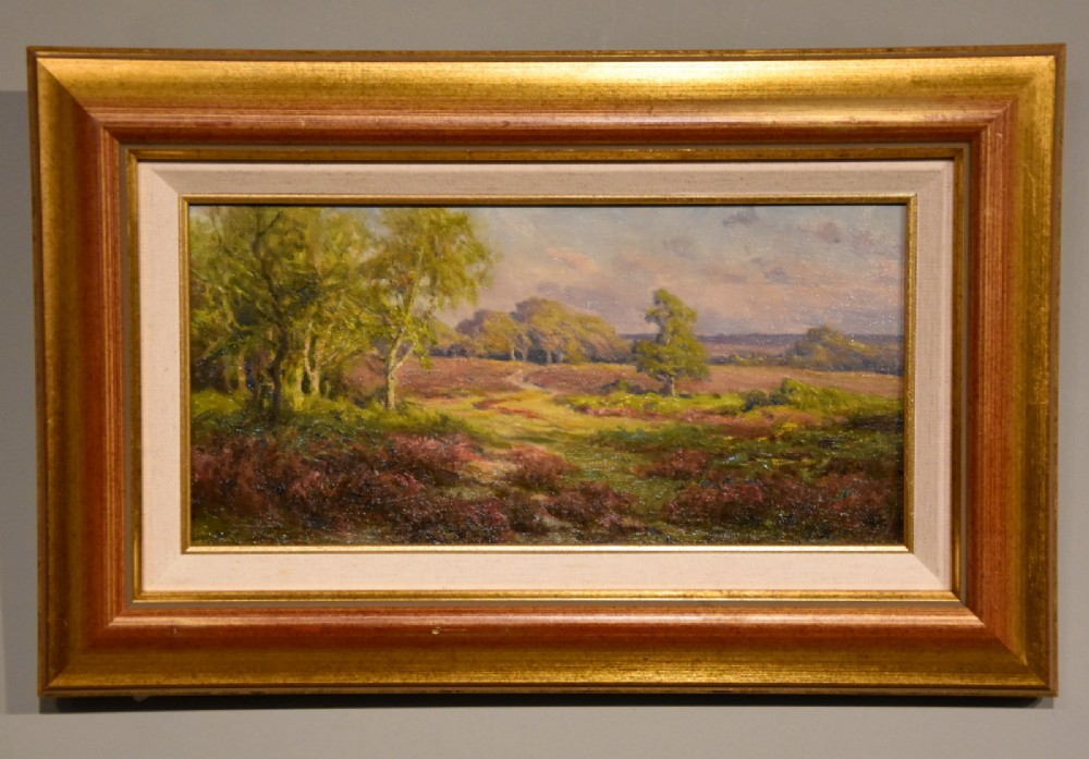 oil painting by frederick golden short evening in the new forest