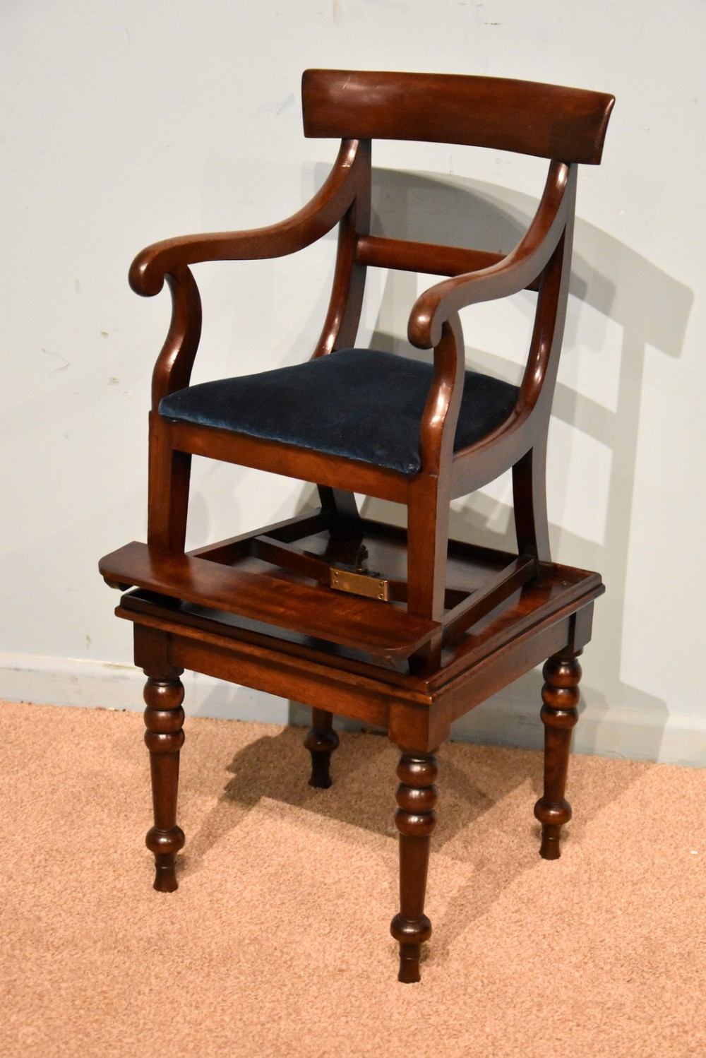 regency mahogany childs high chair and table