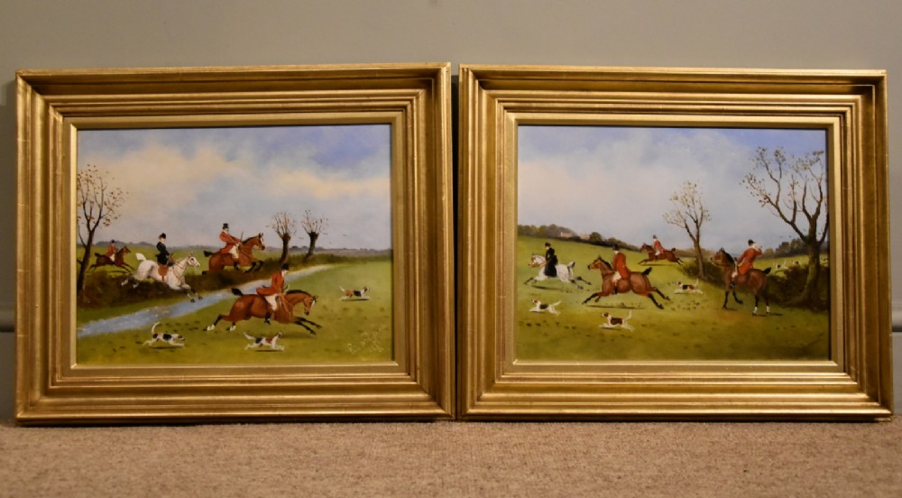 oil painting pair by philip h rideout tally ho