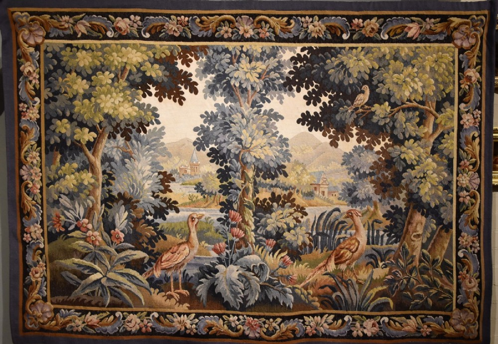 aubusson verdure tapestry with birds and foliage