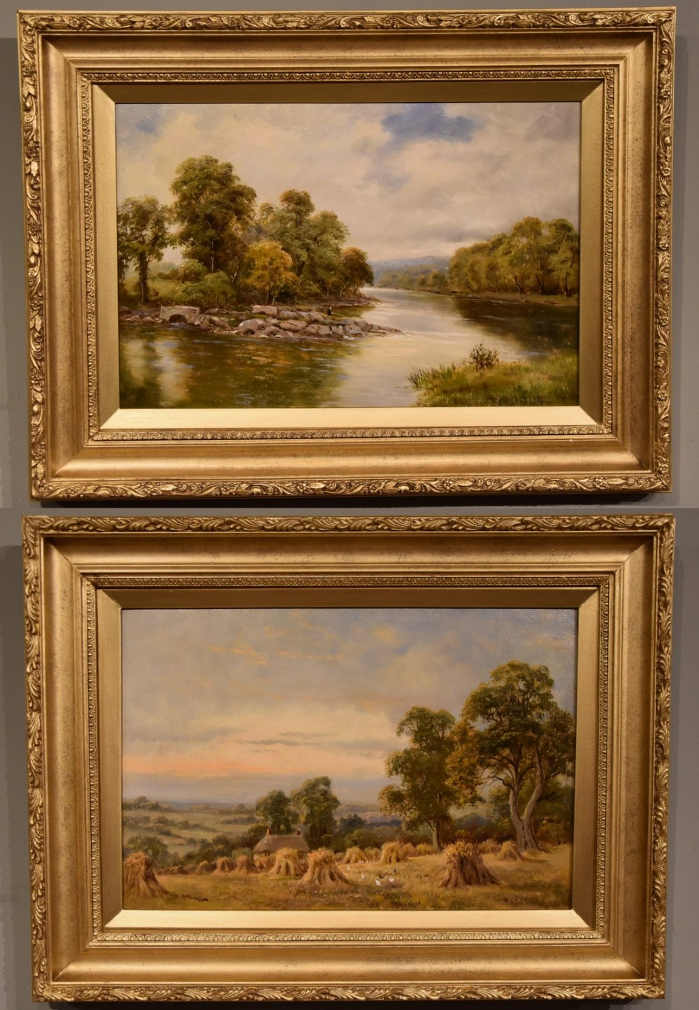 oil painting pair by sidney yates johnson on the river conway north wales and harvesting