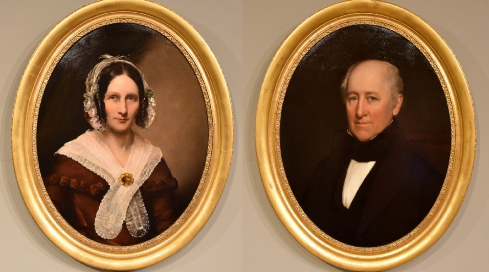 oil painting by english school portraits of a lady and gentleman