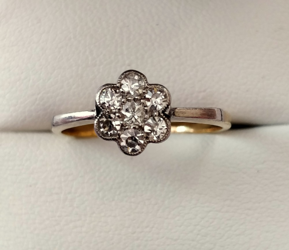 victorian diamond daisy cluster ring 14ct gold size p