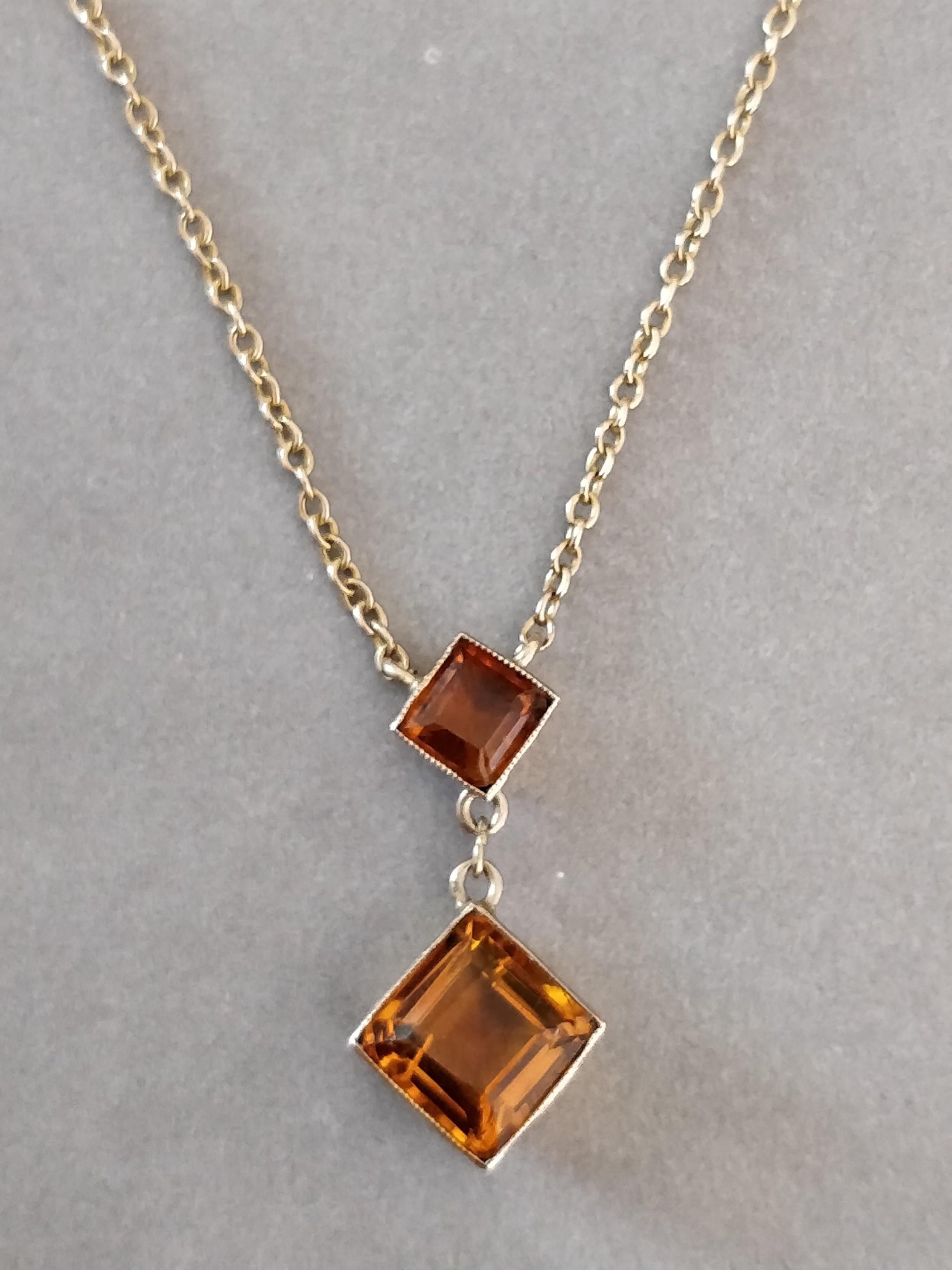 art deco 9ct gold necklace pendant citrine