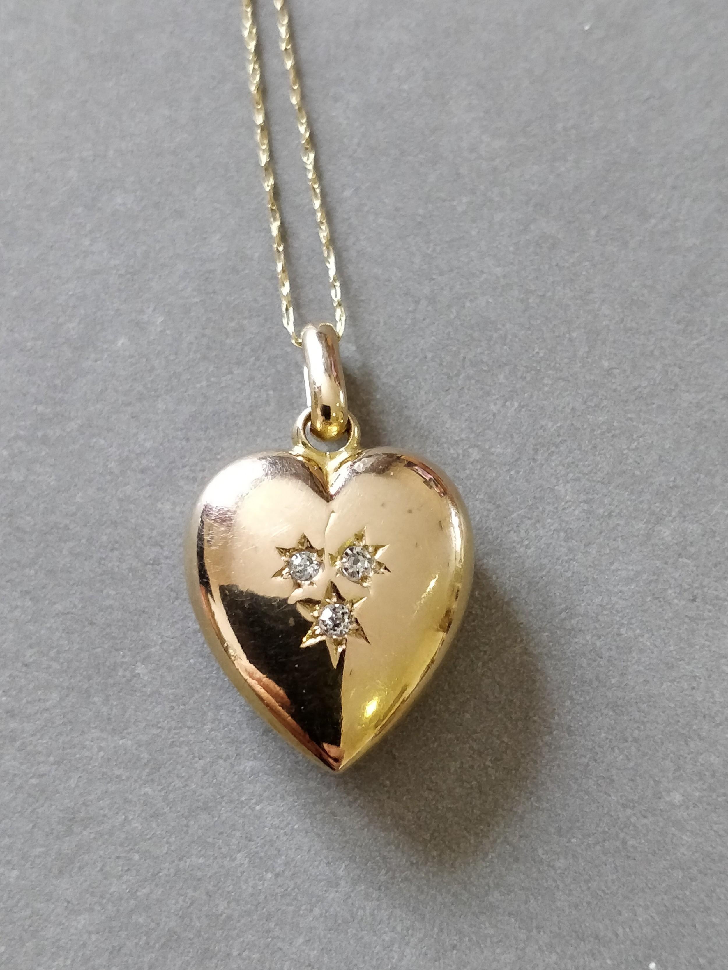 15ct gold diamond puffy heart pendant chester 1897