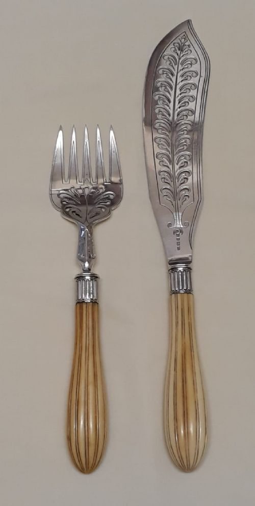 pair of victorian silver and ivory handled fish servers