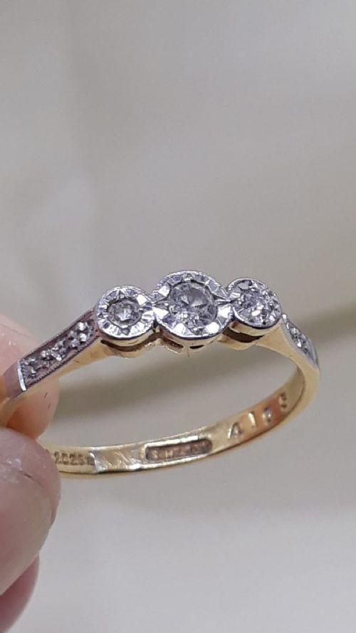 art deco diamond 18ct gold ring circa 1920