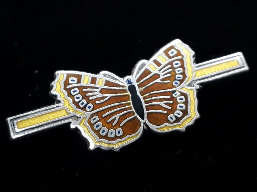 art deco silver and enamel 'butterfly' brooch