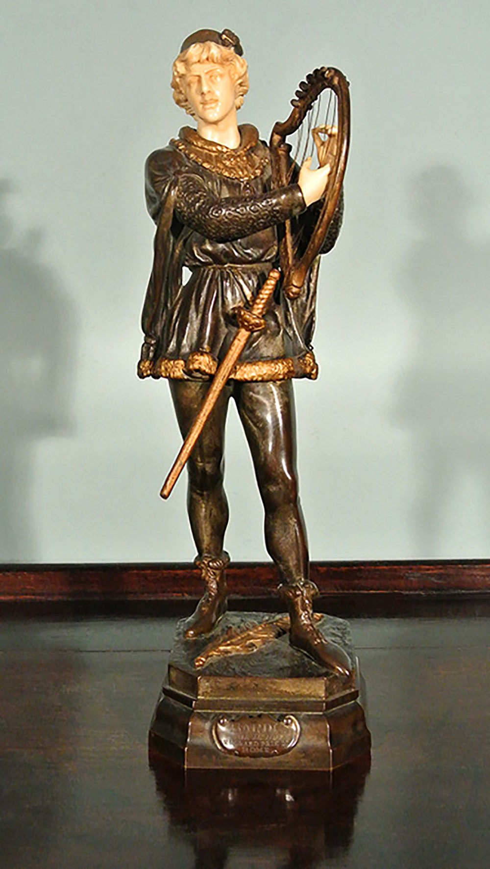 Jean didier debut bronze and ivory figure titled barde