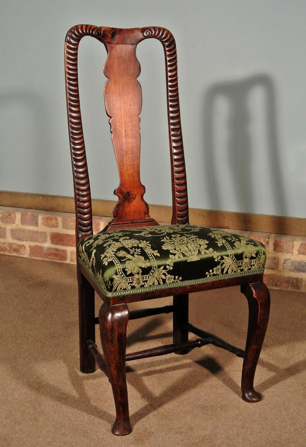 unusual george i joined walnut side chair circa 1720