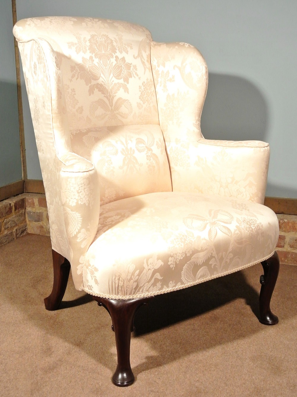 george iii walnut wing back chair in pale cream c1780