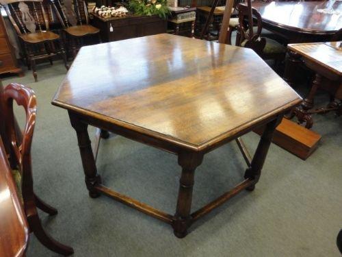 Oak Six Sided Table Sellingantiquescouk - Six sided table