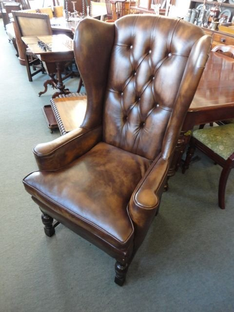 leather wing back chair. antique photo - Leather Wing Back Chair 153687 Sellingantiques.co.uk