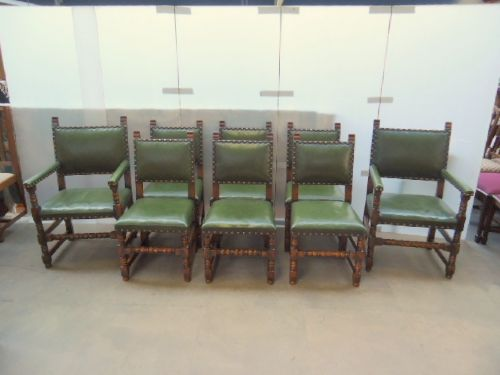 good set of 8 oak leather chairs