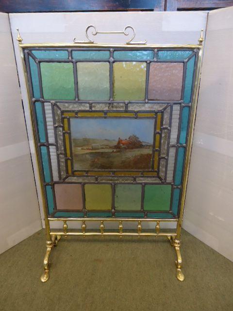 victorian brass leaded glass fire screen