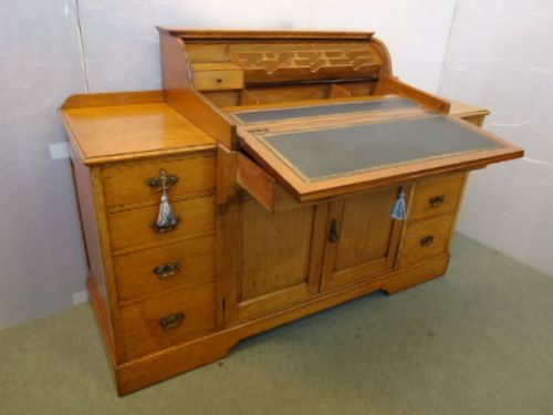 Superb Golden Oak Christopher Pratt S Library Desk 685457 Sellingantiques Co Uk