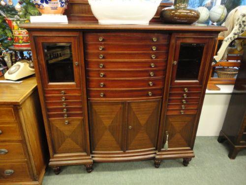mahogany dentist collectors cabinet