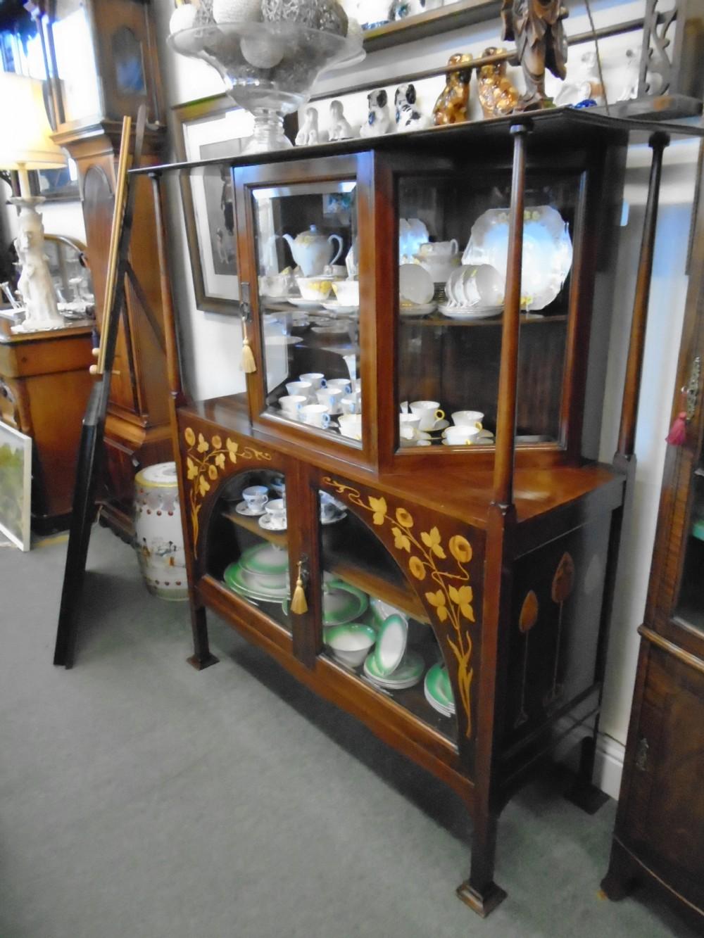 fantastic mahogany art nouveau cabinet