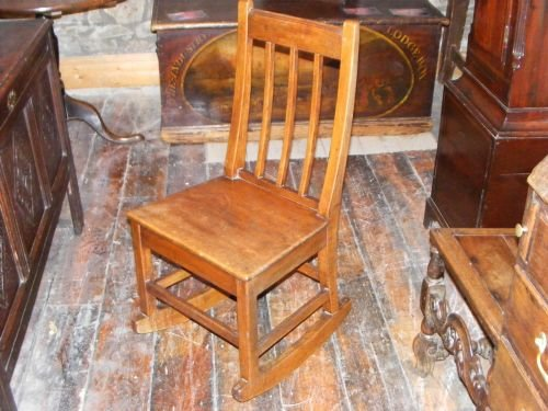 antique welsh ash side or hall chair on rockers c1840