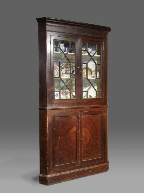 georgian welsh pine glazed corner cupboard with original painted finish