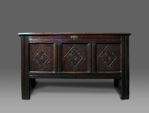 welsh oak 17th century carved coffer c1640