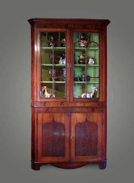 early victorian welsh mahogany corner cupboard c1840