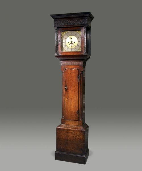 georgian welsh oak longcase grandfather 8 day clock with brass dial c1790