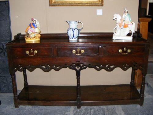 welsh georgian oak low dresser with potboard c1780