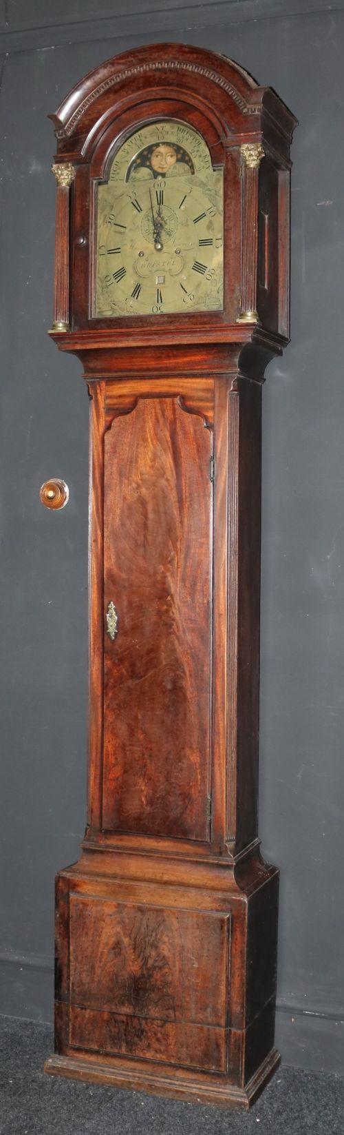 mahogany longcase grandfather clock by lawrence of bristol circa 1780