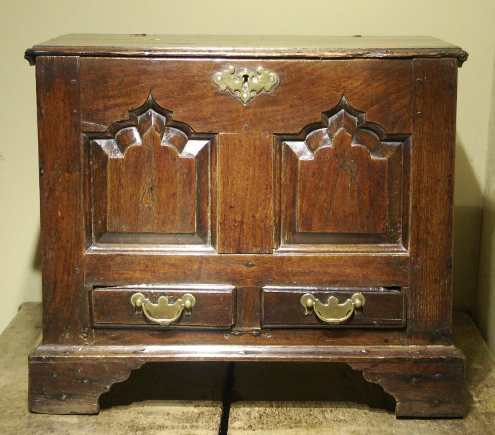 welsh oak coffor bach or miniature chest circa 1760