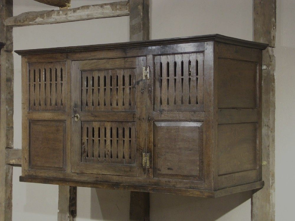 rare welsh oak wallhanging cupboard circa 1700