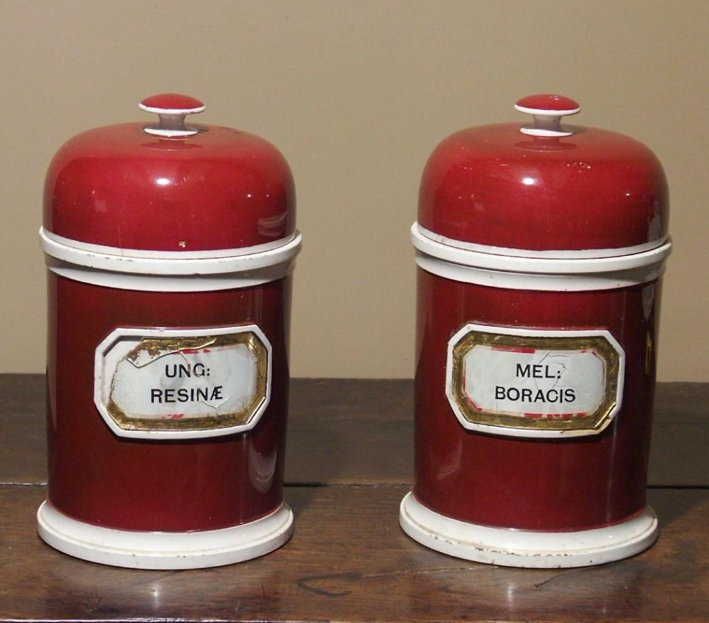 pair of chemists' jars circa 1890