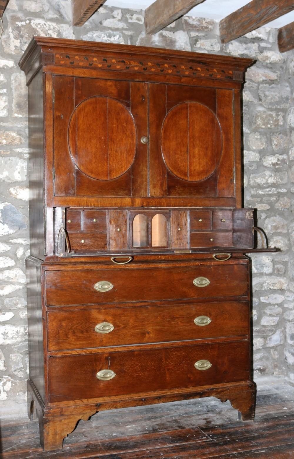 welsh oak secretaire press cupboard circa 1800