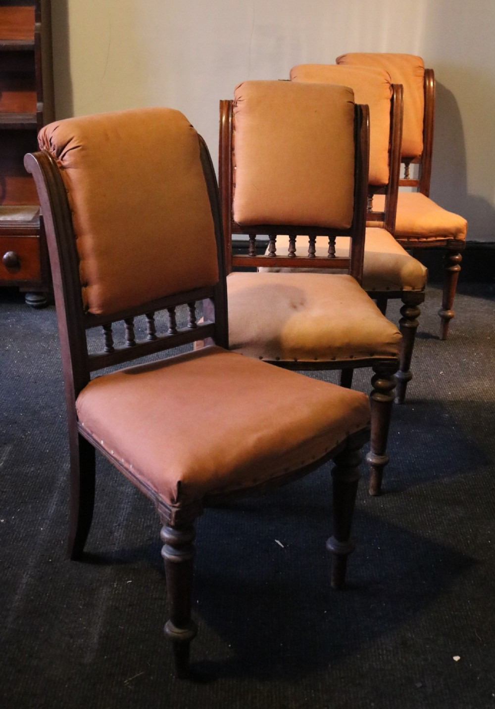 set of four victorian upholstered mahogany dining chairs circa 1870
