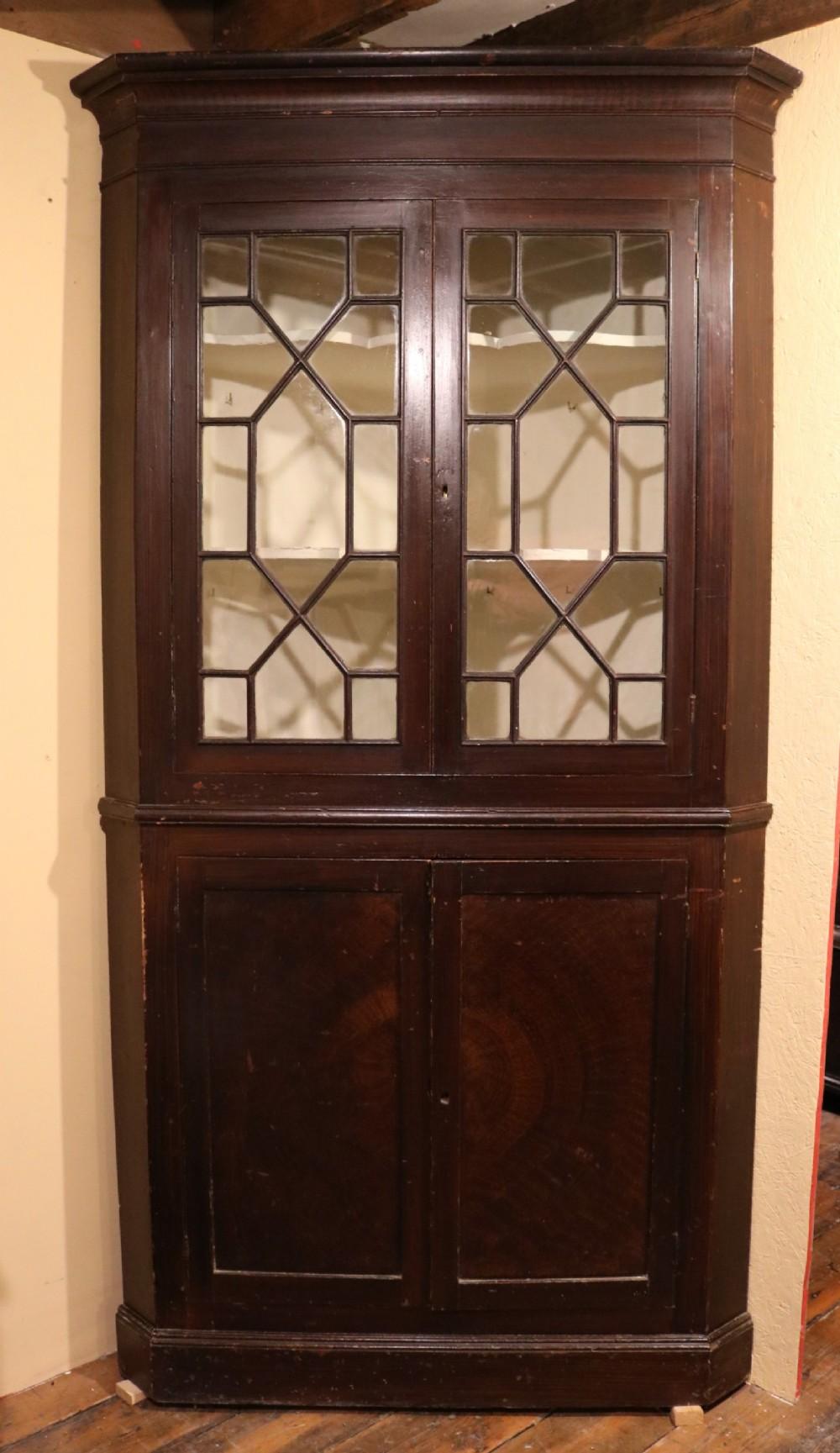 welsh pine corner cupboard with original painted finish circa 1790