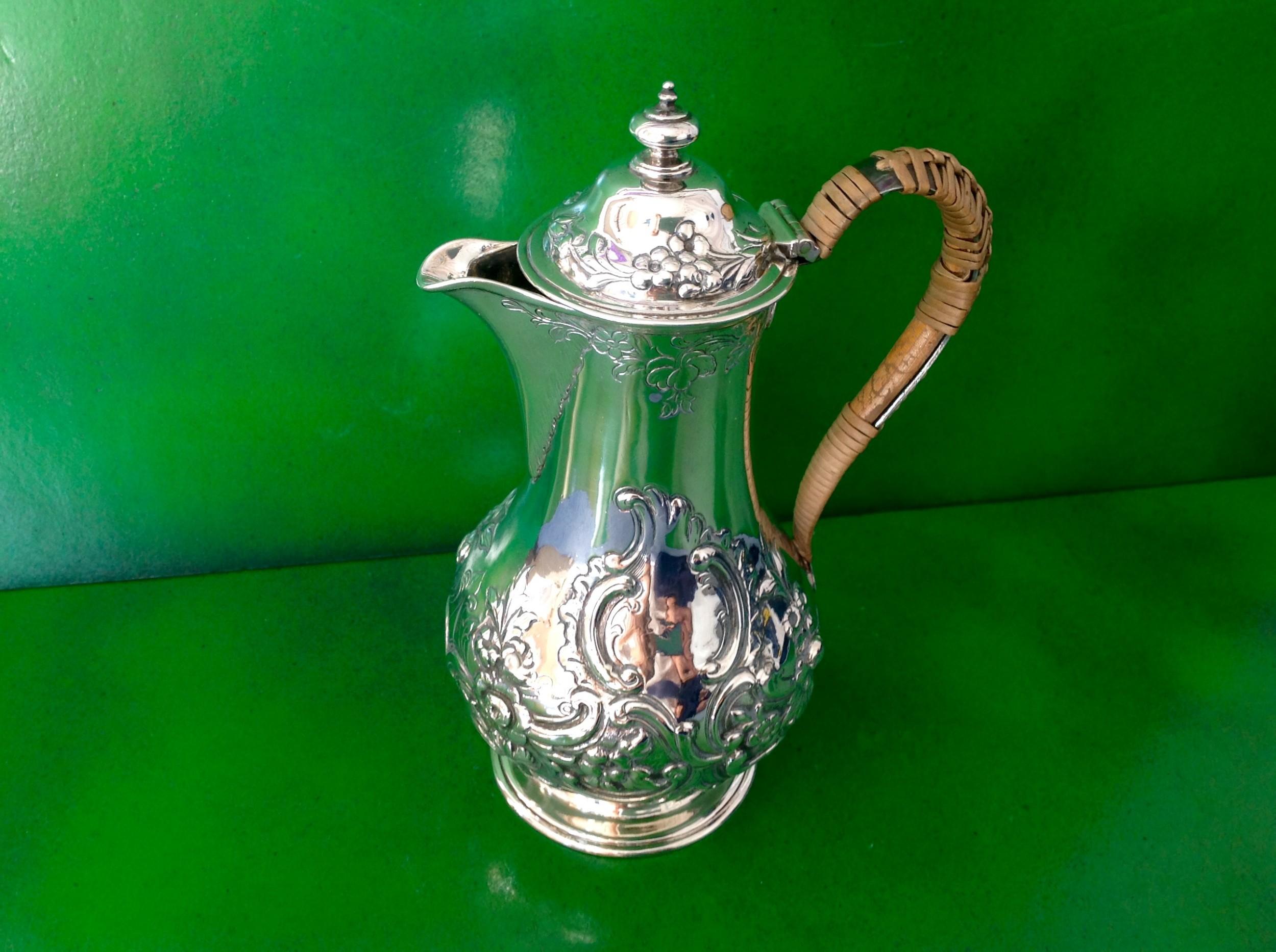 antique victorian silver hot watercoffee pot 1859