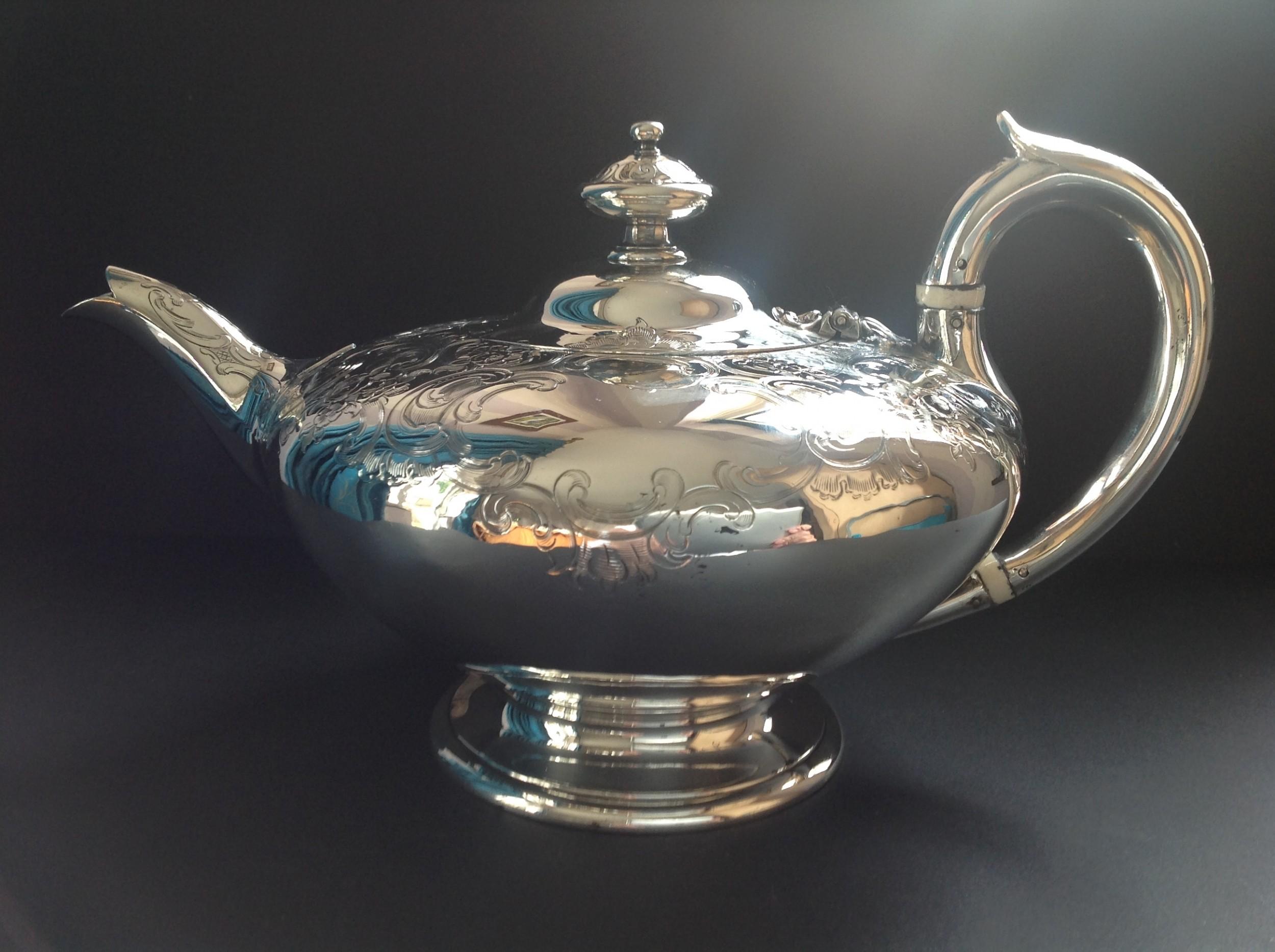 superb antique victorian silver circular teapot 1846