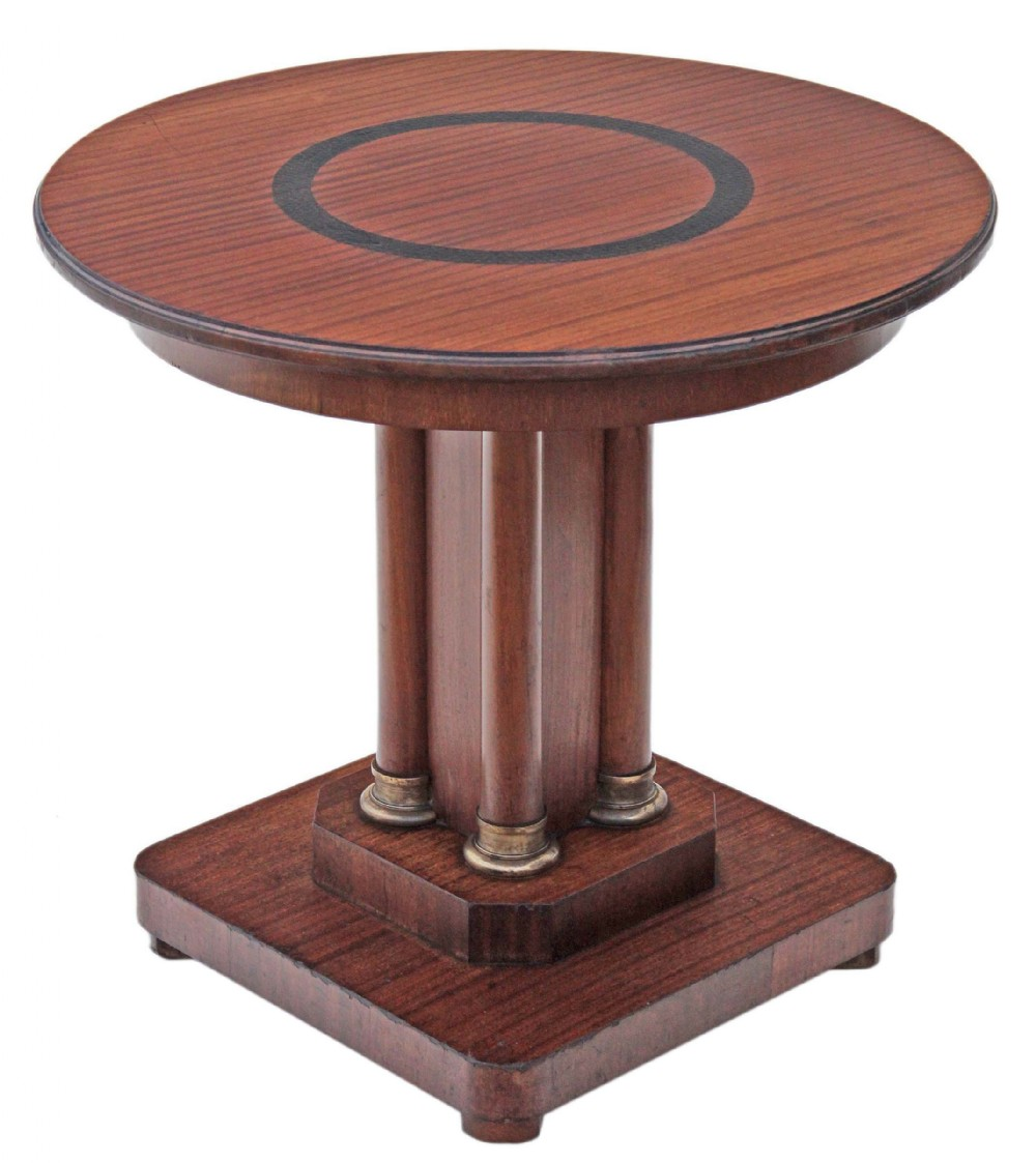 art deco mahogany centre window side lamp table