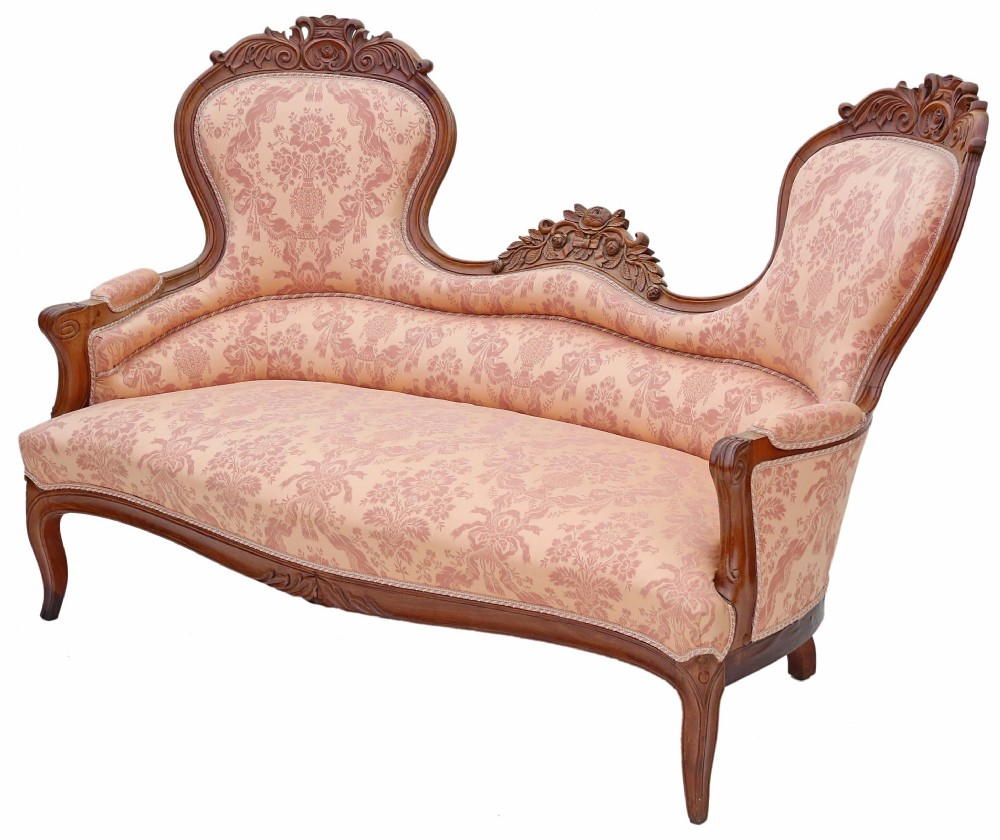 19th century carved french walnut sofa settee chaise longue
