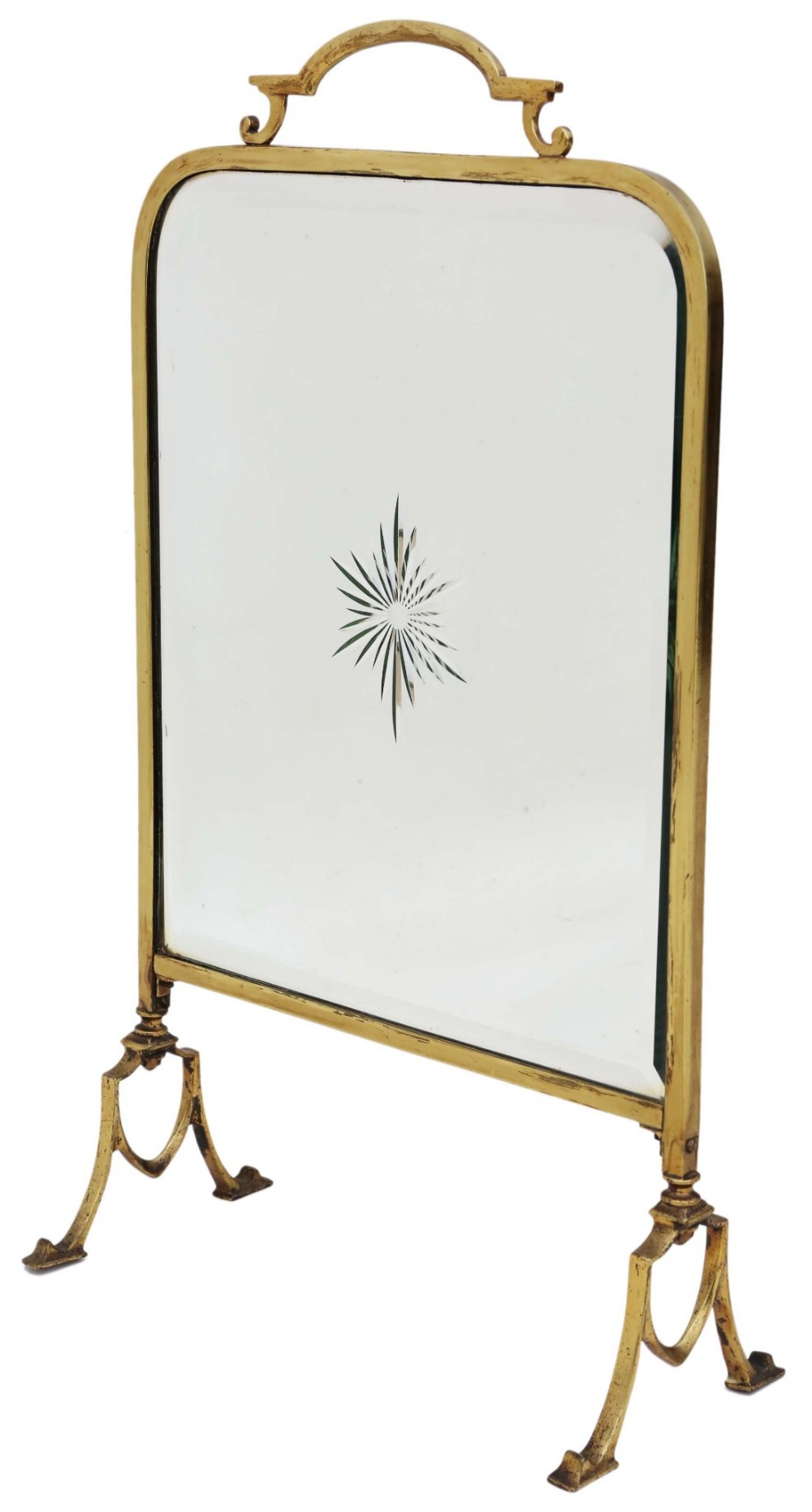 Victorian ormolu brass cut glass fire screen 433628 for How to cut glass with fire