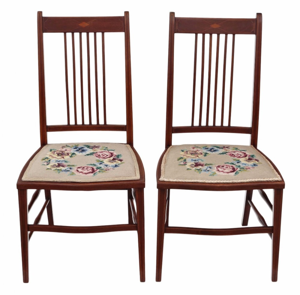 pair of edwardian needlepoint mahogany chairs