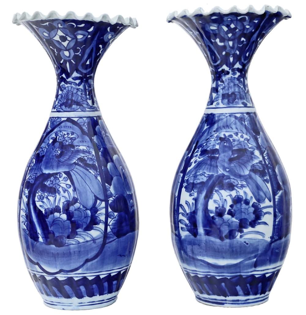 large pair of japanese meiji blue and white vases