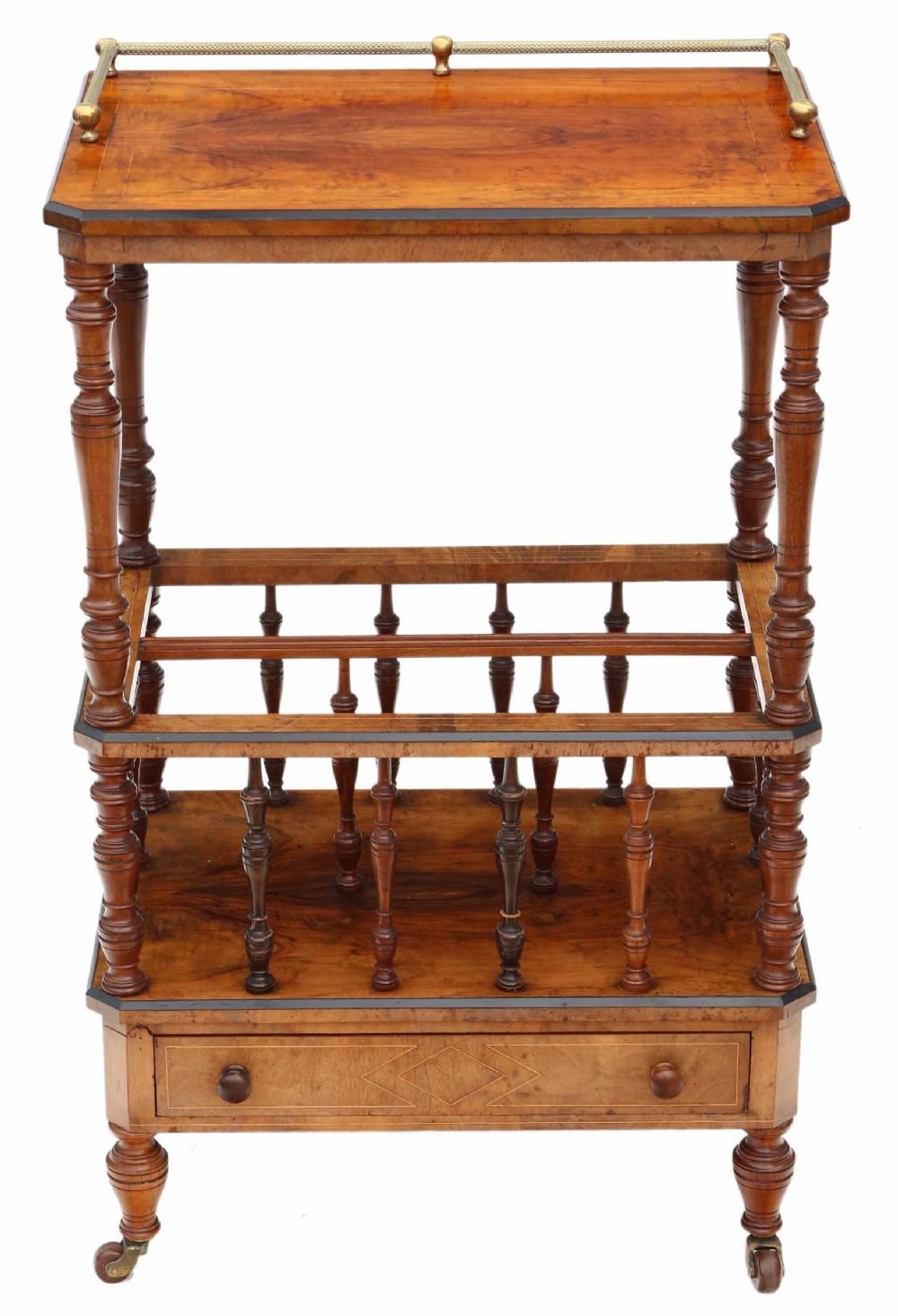 victorian aesthetic c1880 inlaid mahogany canterbury whatnot