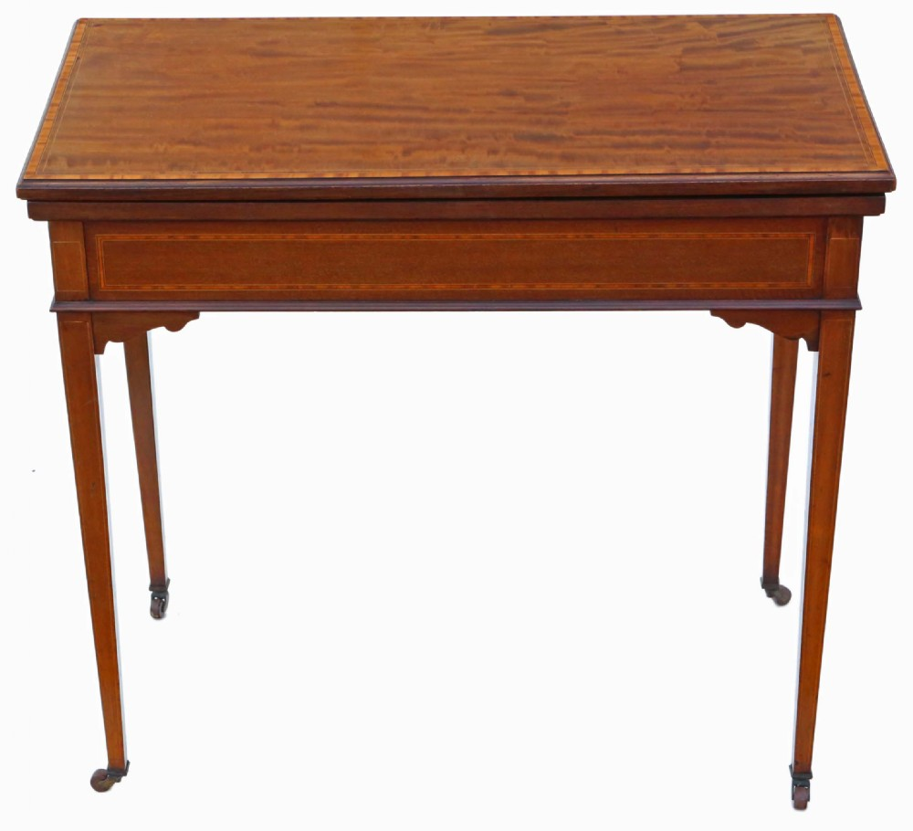georgian revival c1910 inlaid mahogany folding card table